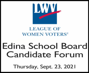 Title page of EPS school board candidate forum, shows the LWV logo and the date