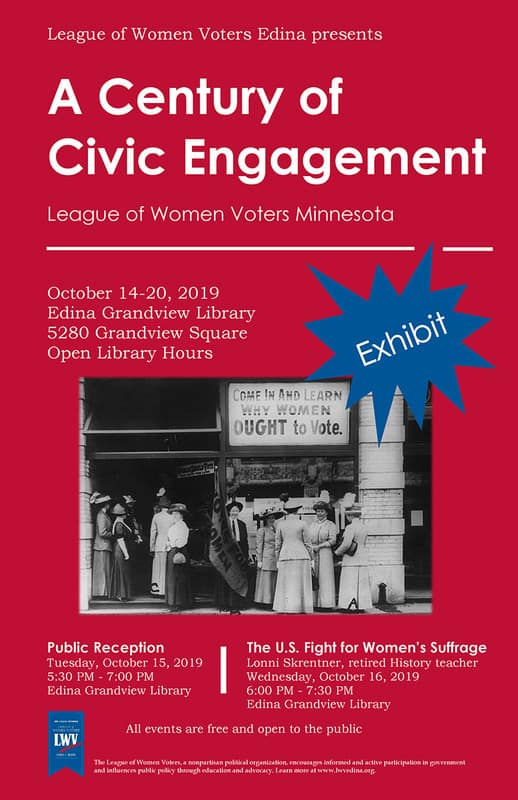 League of Women Voters Edina Centennial Celebration poster
